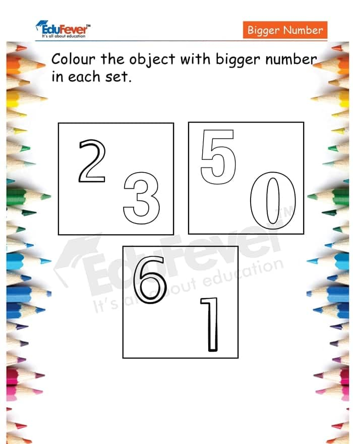 Color The Object With Bigger Number Example