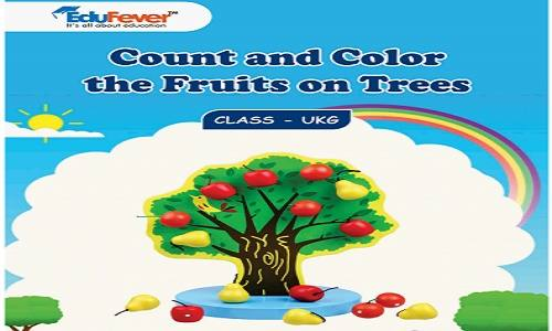 Count and Colour the Fruits on Trees UKG Worksheets
