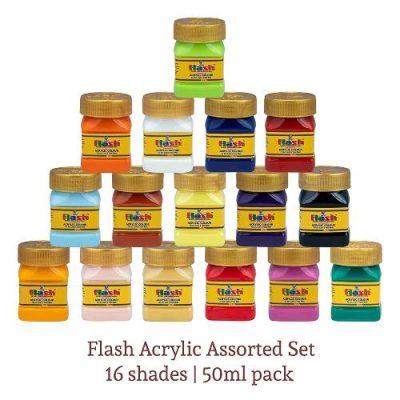 Flash Acrylic 16 Colours Set