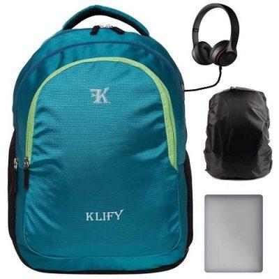 KLIFY 31 litres Teal Laptop Backpack, School Bag