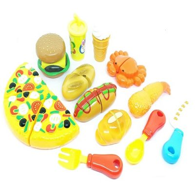 Vivir Realistic Sliceable Pizza Snack Toys for Boys and Girls (3 Years) -12 Pieces