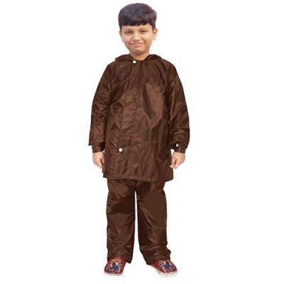 Malvina Solid Waterproof Raincoat Set of Pant & top for Kids (Brown)