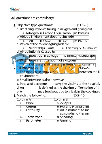 Class 5 EVS Sample Paper
