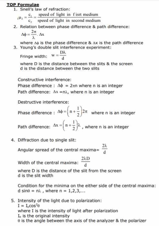 wave optics formula image